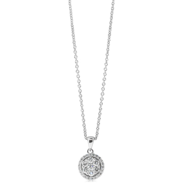 18ct White Gold .37ct Diamond Cluster Pendant - Walker & Hall