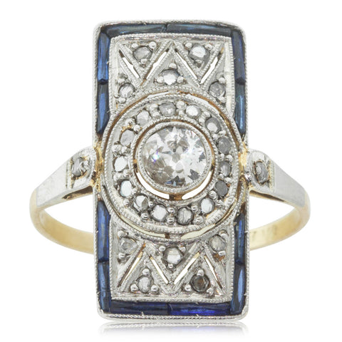Vintage 18ct Yellow Gold & Platinum .20ct Diamond & Sapphire Ring - Walker & Hall