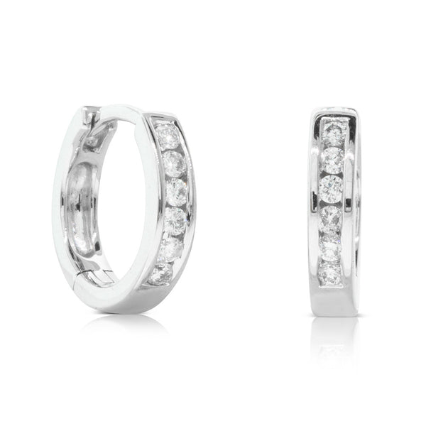 18ct White Gold .13ct Diamond Huggie Earrings - Walker & Hall