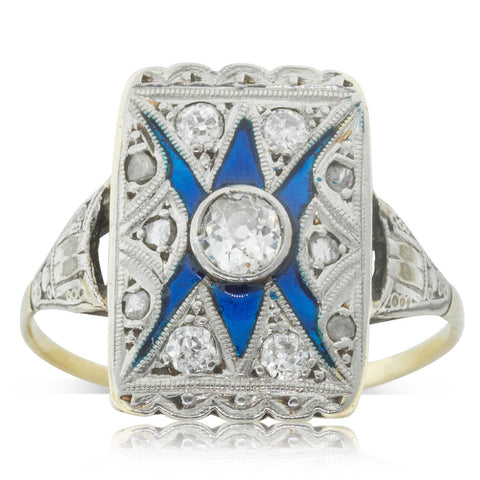 Vintage 18ct Yellow Gold & Platinum Diamond & Enamel Ring - Walker & Hall