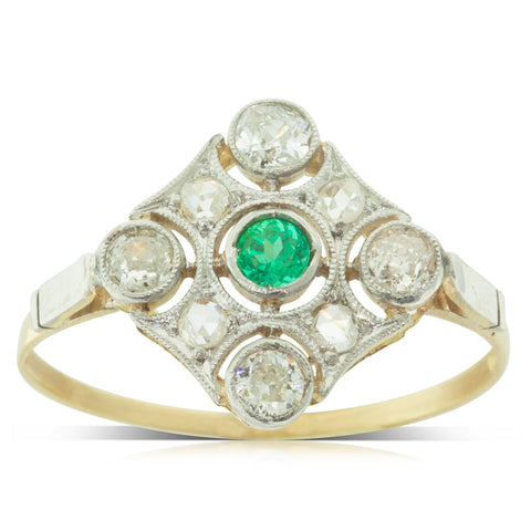 Vintage 18ct Yellow Gold & Platinum Emerald & Diamond Halo Ring - Walker & Hall