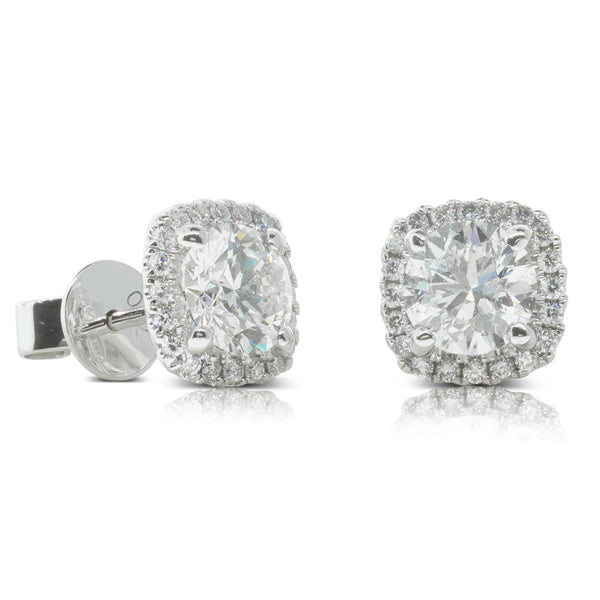 18ct White Gold 2.34ct Diamond Peony Earrings - Walker & Hall