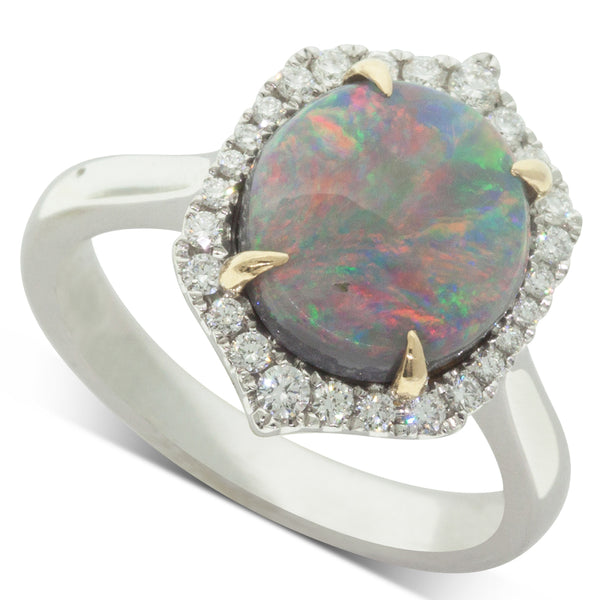 18ct White & Yellow Gold 2.67ct Opal & Diamond Halo Ring - Walker & Hall