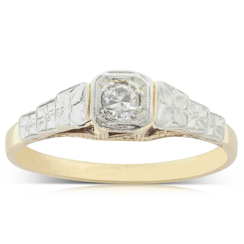 Vintage 18ct Yellow Gold & Platinum .13ct Diamond Ring - Walker & Hall