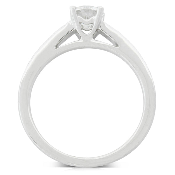 18ct White Gold .57ct Diamond Vantage Ring - Walker & Hall