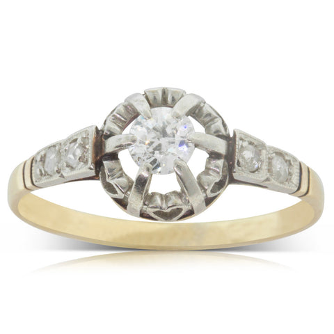 Vintage 18ct Yellow Gold & Platinum .25ct Diamond Ring - Walker & Hall