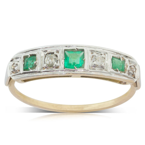 Vintage 18ct Yellow & White Gold Emerald & Diamond Ring - Walker & Hall