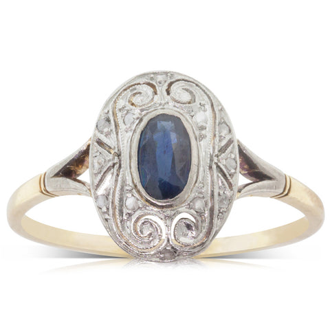 Vintage 18ct Yellow Gold & Platinum Sapphire & Diamond Ring - Walker & Hall