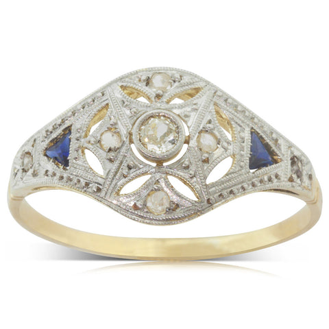 Vintage 18ct Yellow Gold & Platinum Diamond & Sapphire Ring - Walker & Hall