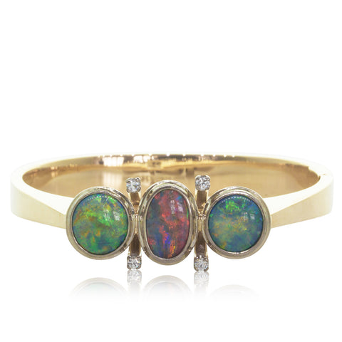 Vintage 14ct Yellow Gold Opal & Diamond Bangle - Walker & Hall