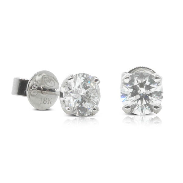 18ct White Gold 1.06ct Diamond Blossom Earrings - Walker & Hall