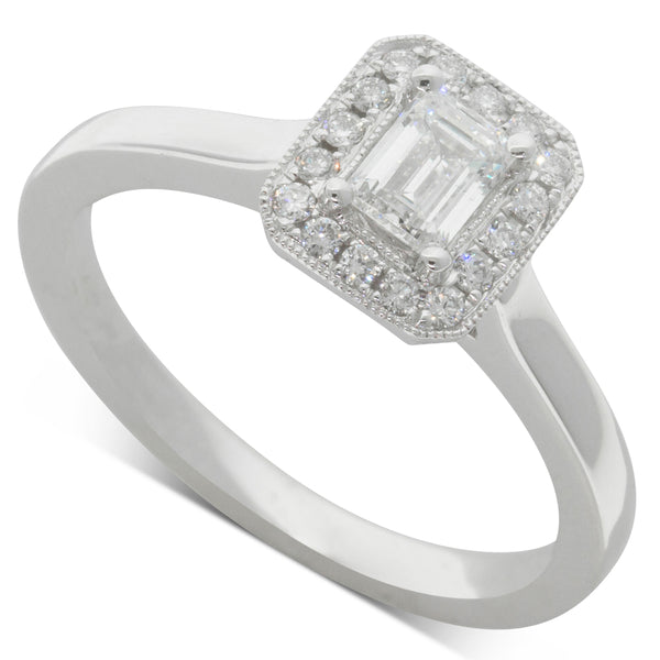 18ct White Gold .38ct Diamond Halo Ring - Walker & Hall
