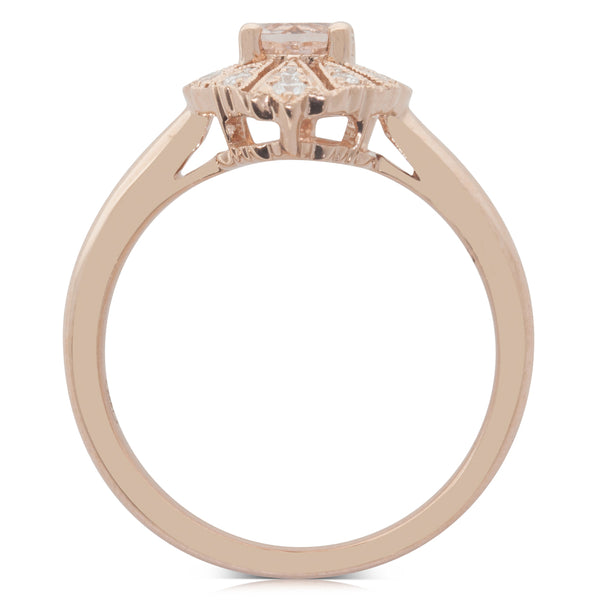 18ct Rose Gold .50ct Morganite & Diamond Ring - Walker & Hall
