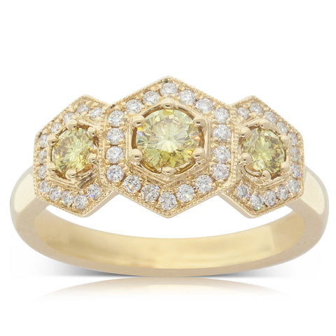 18ct Yellow Gold .65ct Yellow Diamond Halo Ring - Walker & Hall