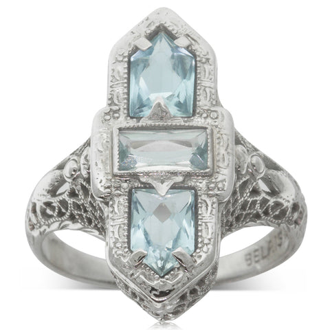 Vintage 14ct White Gold Blue Topaz Cocktail Ring - Walker & Hall
