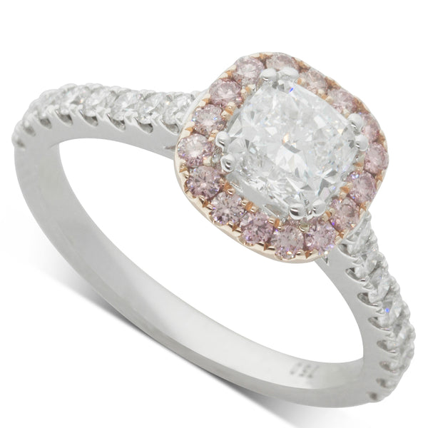 18ct White & Rose Gold .90ct Diamond Halo Ring - Walker & Hall