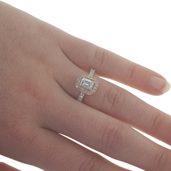 18ct White & Rose Gold .70ct Diamond Halo Ring - Walker & Hall