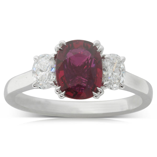 18ct White Gold 1.18ct Ruby & Diamond Ring - Walker & Hall
