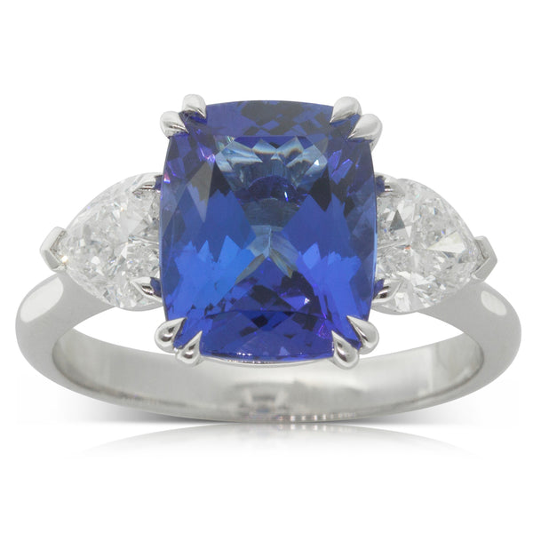 18ct White Gold 3.60ct Tanzanite & Diamond Ring - Walker & Hall