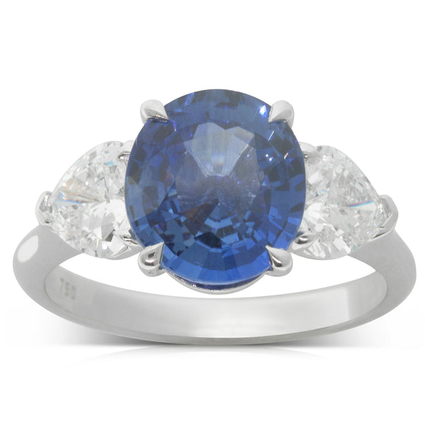 18ct White Gold 3.34ct Sapphire & Diamond Trilogy Ring - Walker & Hall