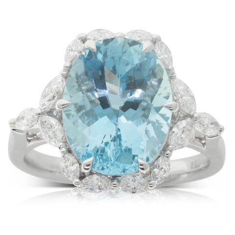 18ct White Gold 4.82ct Aquamarine & Diamond Halo Ring - Walker & Hall