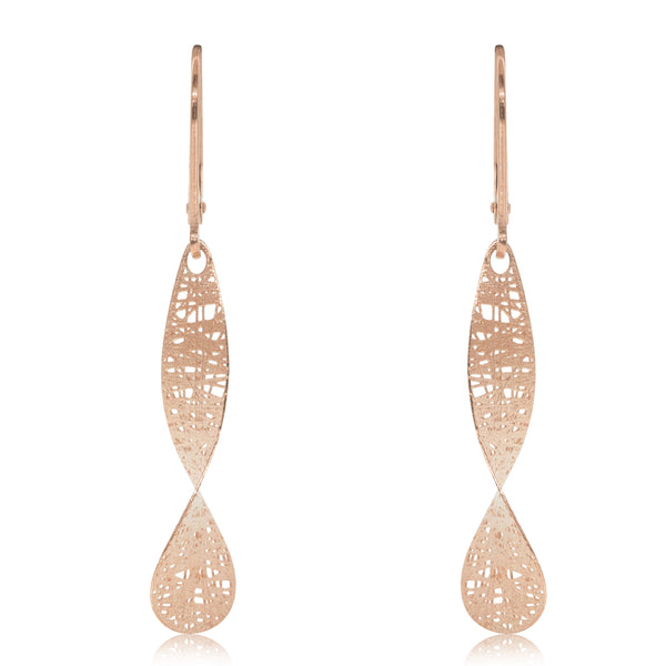 14ct Rose Gold Textured Drop Earrings - Walker & Hall