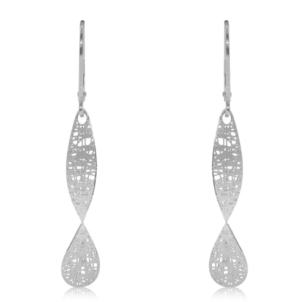 14ct White Gold Textured Drop Earrings - Walker & Hall