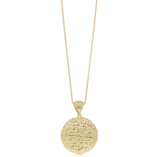 14ct Yellow Gold Textured Circle Pendant - Walker & Hall