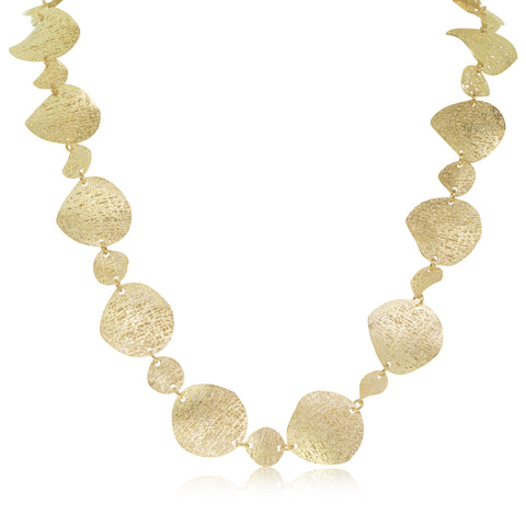 14ct Yellow Gold Textured Disc Necklace - Walker & Hall