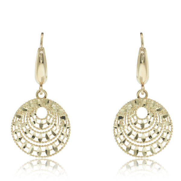 14ct Yellow Gold Sunburst Drop Earrings - Walker & Hall