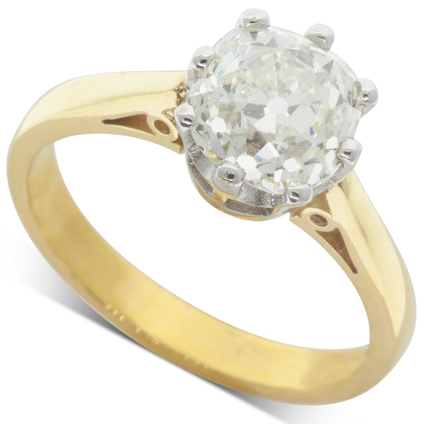 18ct Yellow & White Gold 2.17ct Diamond Solitaire Ring - Walker & Hall