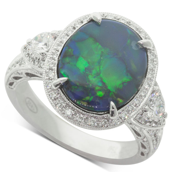18ct White Gold 2.36ct Opal & Diamond Halo Ring - Walker & Hall