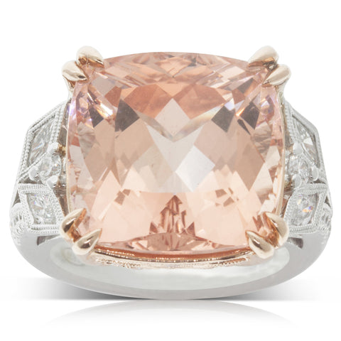 18ct White & Rose Gold 17.20ct Morganite & Diamond Ring - Walker & Hall