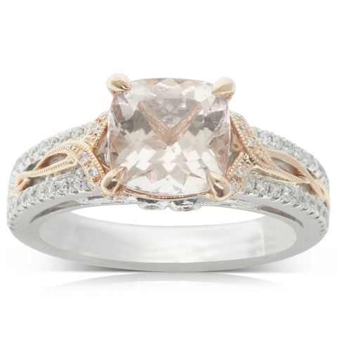 18ct White & Rose Gold 2.01ct Morganite & Diamond Ring - Walker & Hall