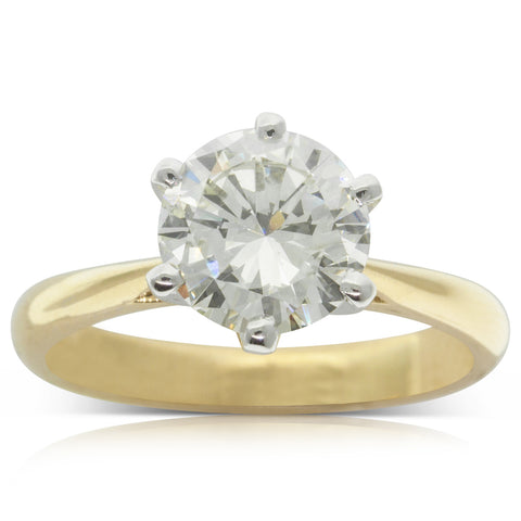 18ct Yellow & White Gold 1.88ct Diamond Solitaire Ring - Walker & Hall