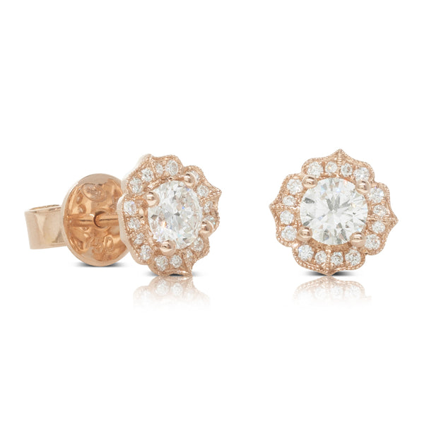 18ct Rose Gold .56ct Diamond Paramount Earrings - Walker & Hall