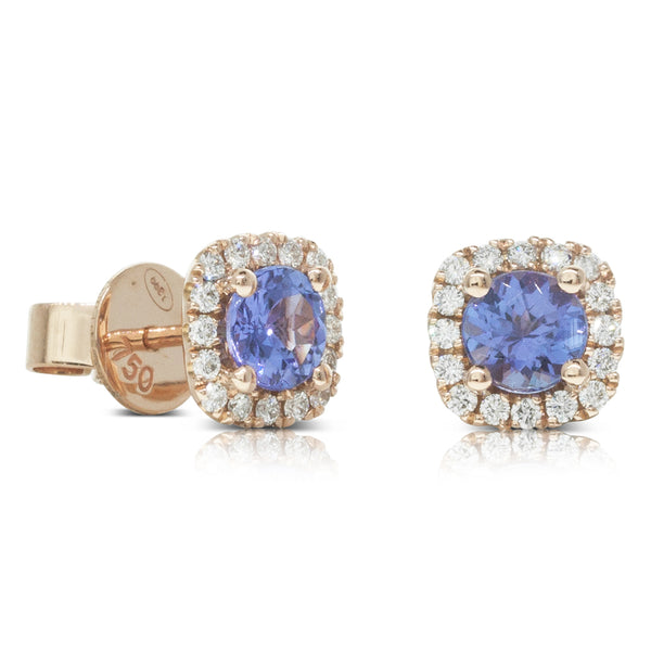 18ct Rose Gold .98ct Tanzanite & Diamond Halo Stud Earrings - Walker & Hall