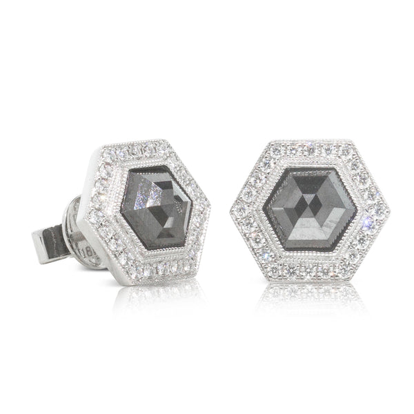 18ct White Gold 2.32ct Black Diamond Halo Stud Earrings - Walker & Hall