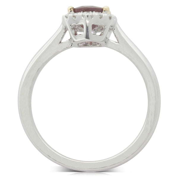 18ct White Gold 1.37ct Ruby & Diamond Halo Ring - Walker & Hall