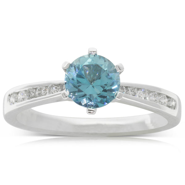 18ct White Gold 1.11ct Blue Topaz & Diamond Avalon Ring - Walker & Hall