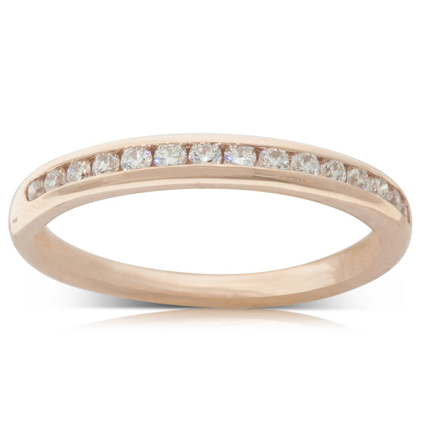 18ct Rose Gold .29ct Diamond Band - Walker & Hall