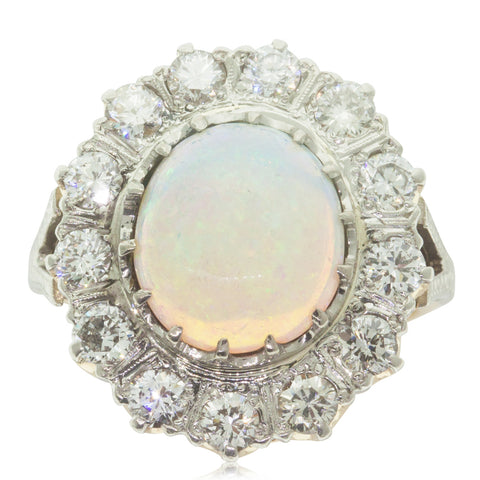 Vintage 18ct White & Yellow Gold Opal & Diamond Halo Ring - Walker & Hall