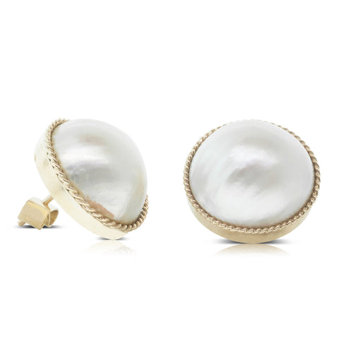 Vintage 9ct Yellow Gold Mabe Pearl Stud Earrings - Walker & Hall
