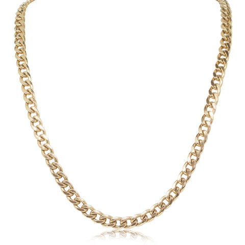 9ct Yellow Gold Oval Hammered Curb Chain - Walker & Hall