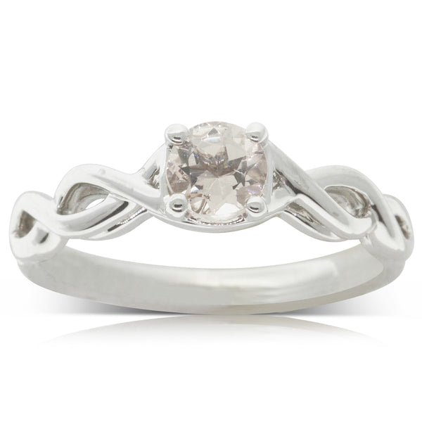 18ct White Gold .50ct Morganite Ring - Walker & Hall