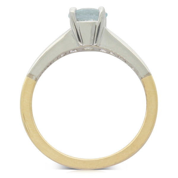 18ct Yellow & White Gold .75ct Aquamarine & Diamond Riviera Ring - Walker & Hall