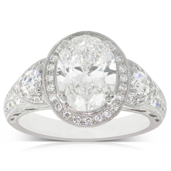 18ct White Gold 2.50ct Diamond Halo Ring - Walker & Hall
