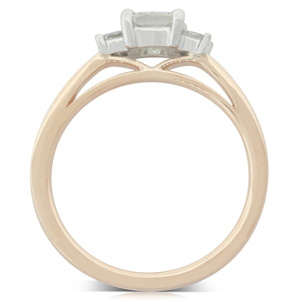 18ct Rose & White Gold .56ct Diamond Olympus Ring - Walker & Hall