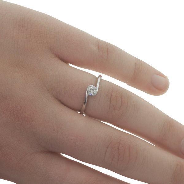 18ct White Gold .25ct Diamond Embrace Ring - Walker & Hall
