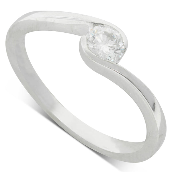 18ct White Gold .27ct Diamond Embrace Ring - Walker & Hall